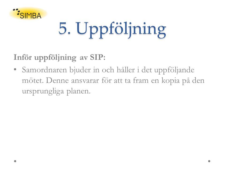 5. Uppföljning Inför uppföljning av SIP: Samordnaren bjuder in och håller i det uppföljande mötet. Denne ansvarar för att ta fram en kopia på den ursp