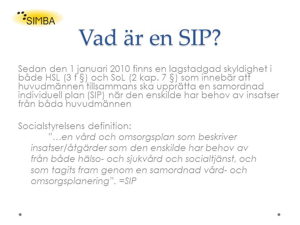 Vad är en SIP? Sedan den 1 januari 2010 finns en lagstadgad skyldighet i både HSL (3 f §) och SoL (2 kap. 7 §) som innebär att huvudmännen tillsammans