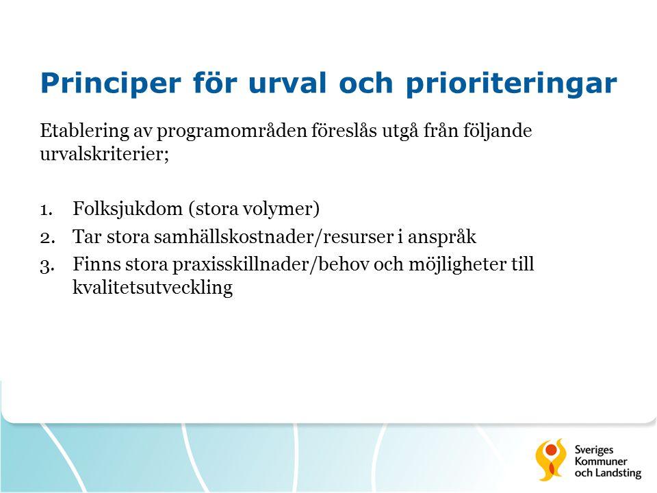 Principer för urval och prioriteringar Etablering av programområden föreslås utgå från följande urvalskriterier; 1.Folksjukdom (stora volymer) 2.Tar s