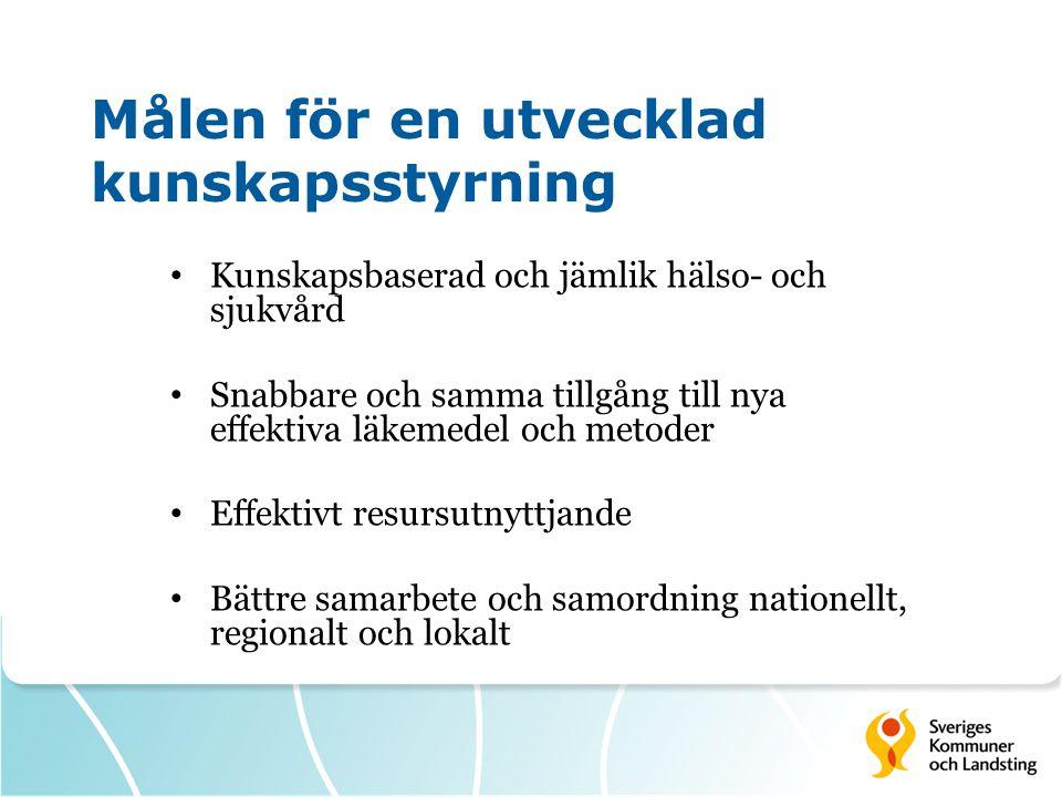 Målen för en utvecklad kunskapsstyrning Kunskapsbaserad och jämlik hälso- och sjukvård Snabbare och samma tillgång till nya effektiva läkemedel och me