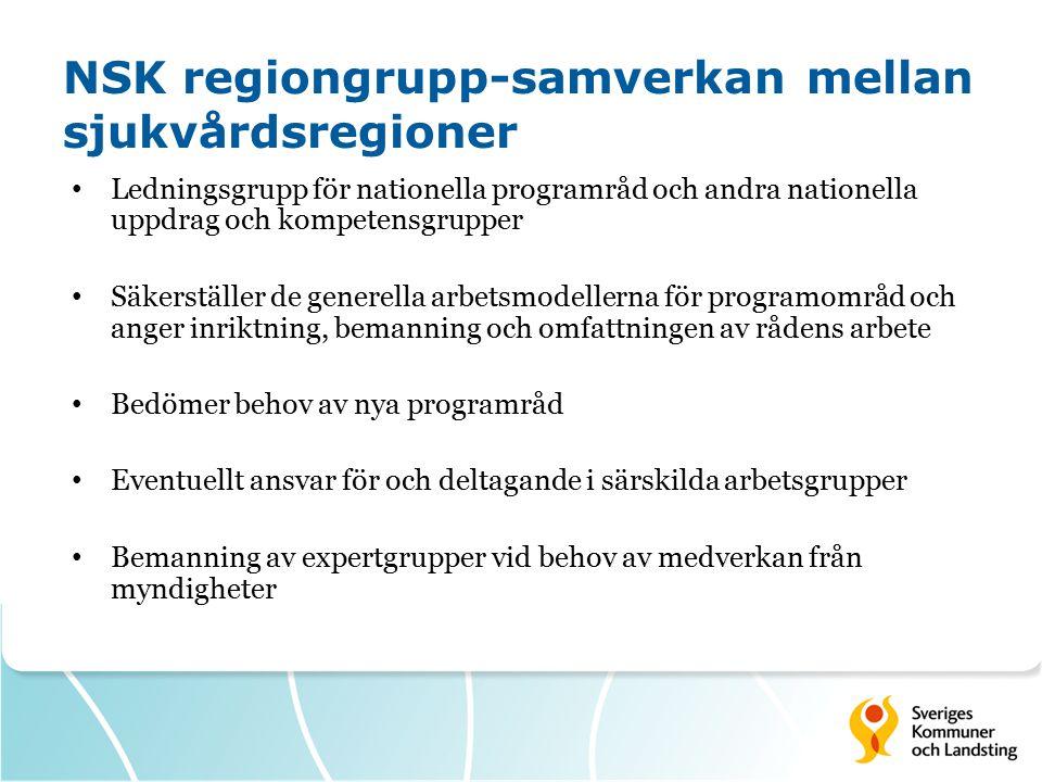Ledningsgrupp för nationella programråd och andra nationella uppdrag och kompetensgrupper Säkerställer de generella arbetsmodellerna för programområd