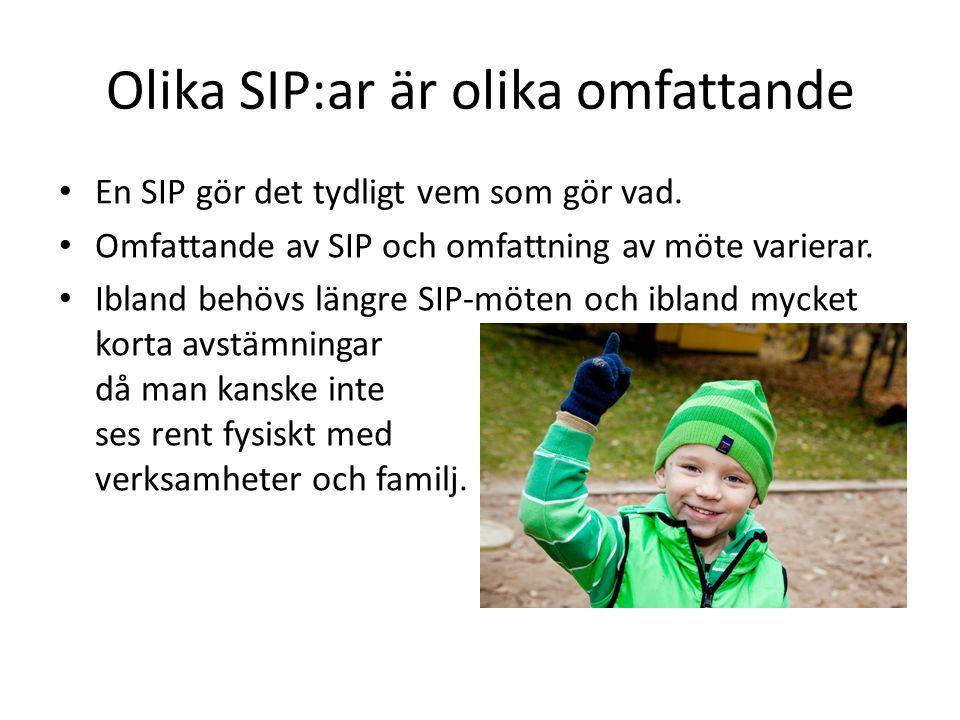 Olika SIP:ar är olika omfattande En SIP gör det tydligt vem som gör vad. Omfattande av SIP och omfattning av möte varierar. Ibland behövs längre SIP-m
