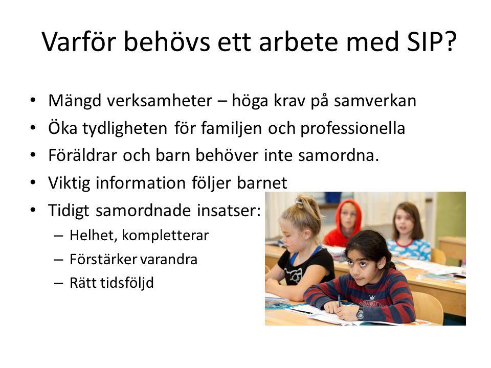Varför behövs ett arbete med SIP? Mängd verksamheter – höga krav på samverkan Öka tydligheten för familjen och professionella Föräldrar och barn behöv