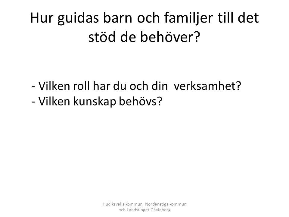 Hur guidas barn och familjer till det stöd de behöver? Hudiksvalls kommun, Nordanstigs kommun och Landstinget Gävleborg - Vilken roll har du och din v