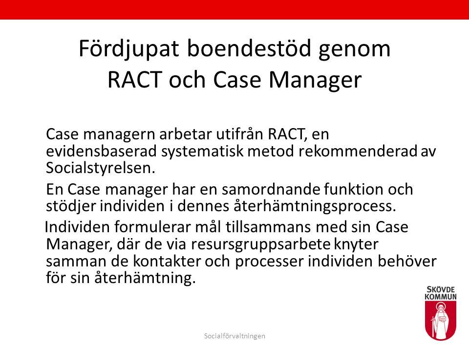 Fördjupat boendestöd genom RACT och Case Manager Case managern arbetar utifrån RACT, en evidensbaserad systematisk metod rekommenderad av Socialstyrel