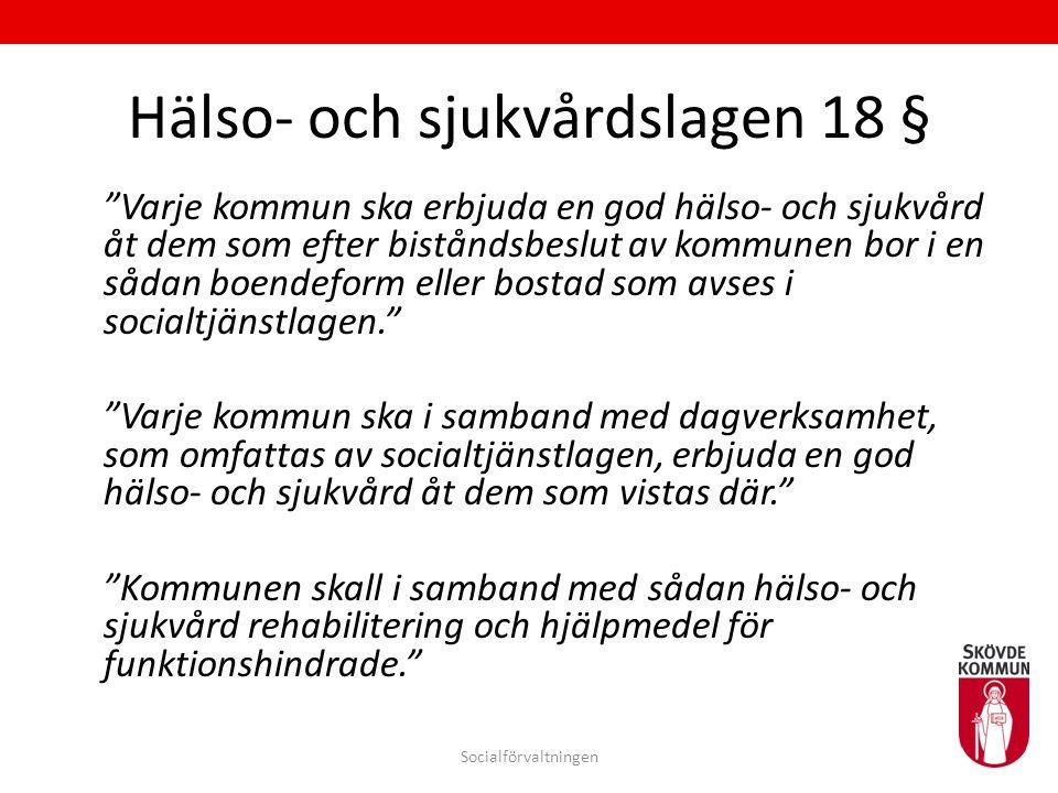 """Hälso- och sjukvårdslagen 18 § """"Varje kommun ska erbjuda en god hälso- och sjukvård åt dem som efter biståndsbeslut av kommunen bor i en sådan boendef"""
