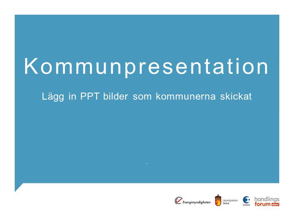 . Kommunpresentation Lägg in PPT bilder som kommunerna skickat
