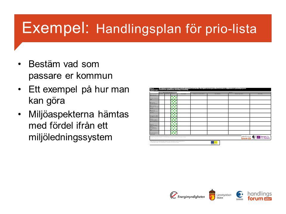 Exempel: Handlingsplan för prio-lista Bestäm vad som passare er kommun Ett exempel på hur man kan göra Miljöaspekterna hämtas med fördel ifrån ett miljöledningssystem
