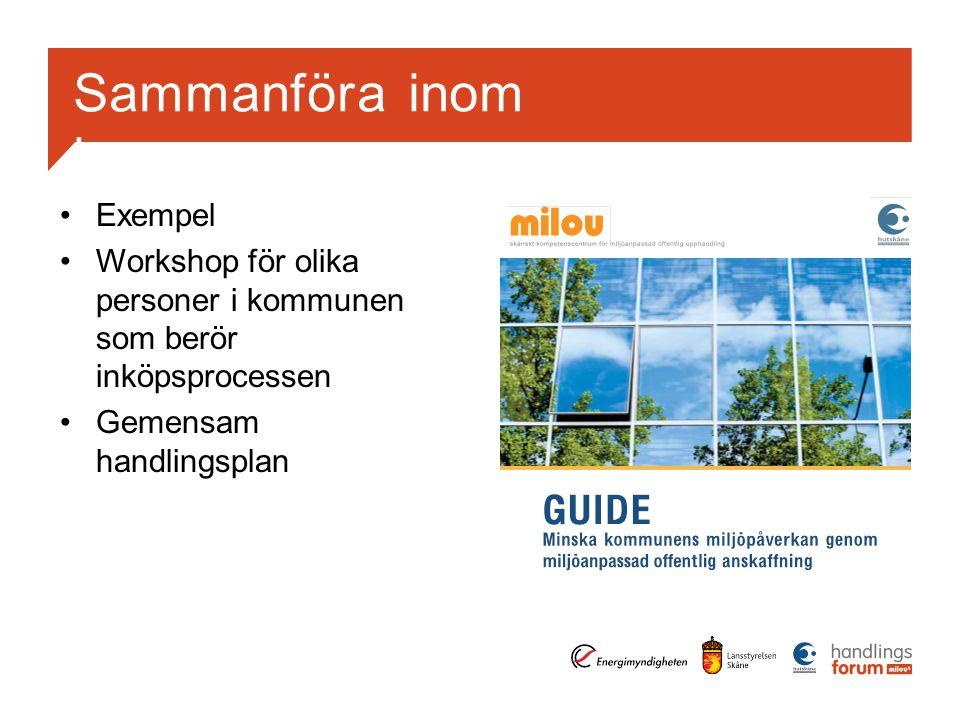 Sammanföra inom kommunerna Exempel Workshop för olika personer i kommunen som berör inköpsprocessen Gemensam handlingsplan