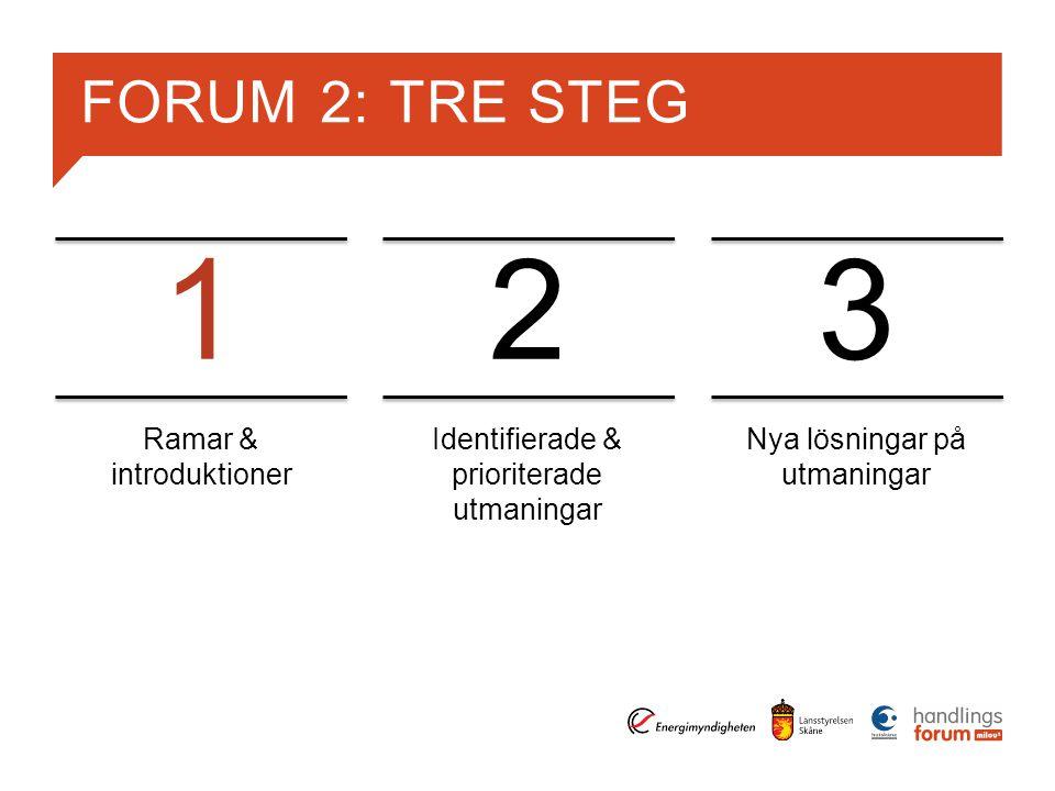 FORUM 2: TRE STEG Ramar & introduktioner Identifierade & prioriterade utmaningar Nya lösningar på utmaningar 123