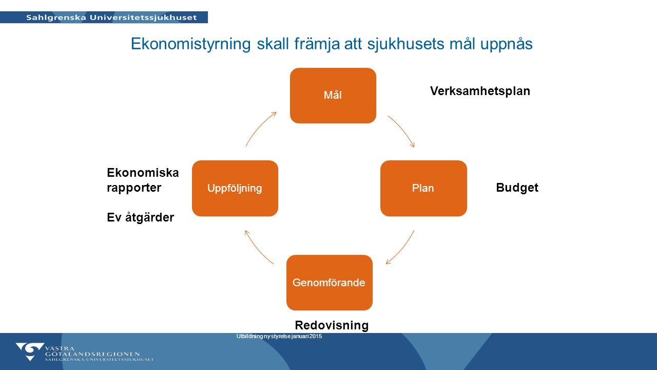 Ekonomistyrning skall främja att sjukhusets mål uppnås MålPlanGenomförandeUppföljning Budget Redovisning Ekonomiska rapporter Ev åtgärder Utbildning n