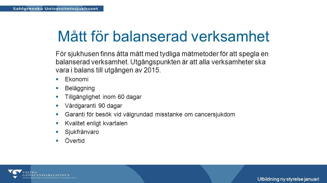 Mått för balanserad verksamhet För sjukhusen finns åtta mått med tydliga mätmetoder för att spegla en balanserad verksamhet. Utgångspunkten är att all