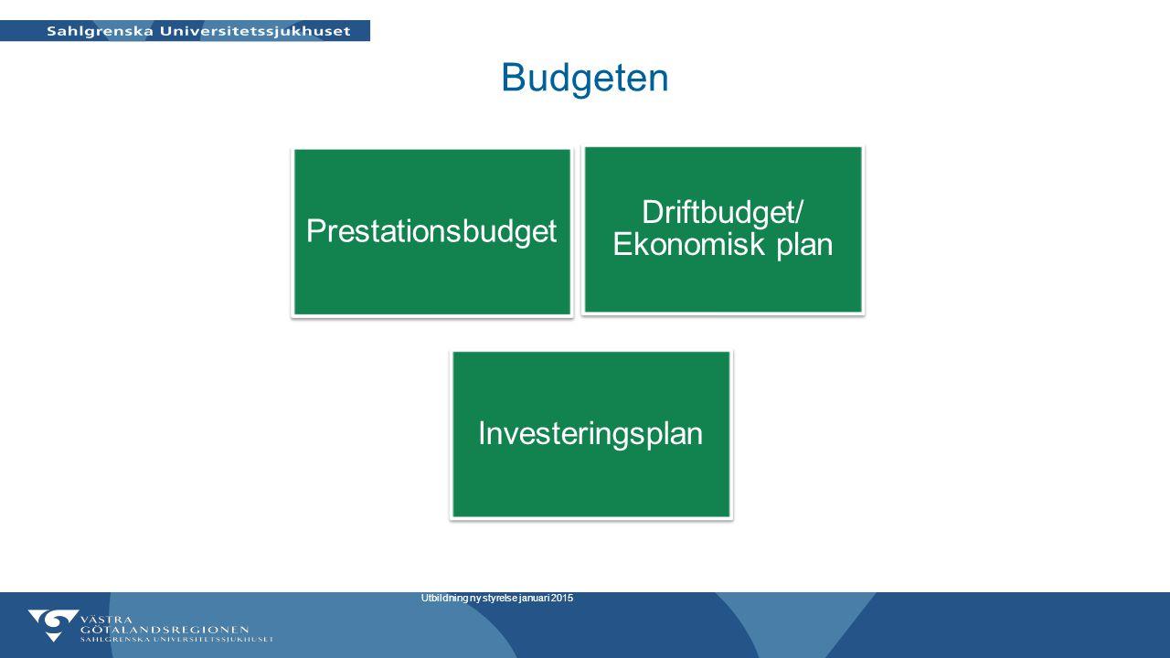 Budgeten Prestationsbudget Investeringsplan Driftbudget/ Ekonomisk plan Utbildning ny styrelse januari 2015