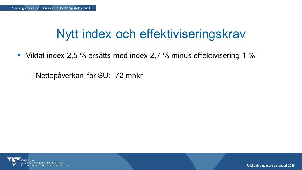 Nytt index och effektiviseringskrav  Viktat index 2,5 % ersätts med index 2,7 % minus effektivisering 1 %: –Nettopåverkan för SU: -72 mnkr Utbildning