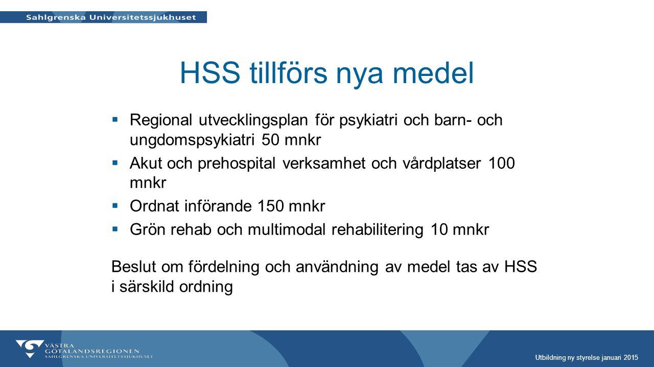 HSS tillförs nya medel  Regional utvecklingsplan för psykiatri och barn- och ungdomspsykiatri 50 mnkr  Akut och prehospital verksamhet och vårdplats