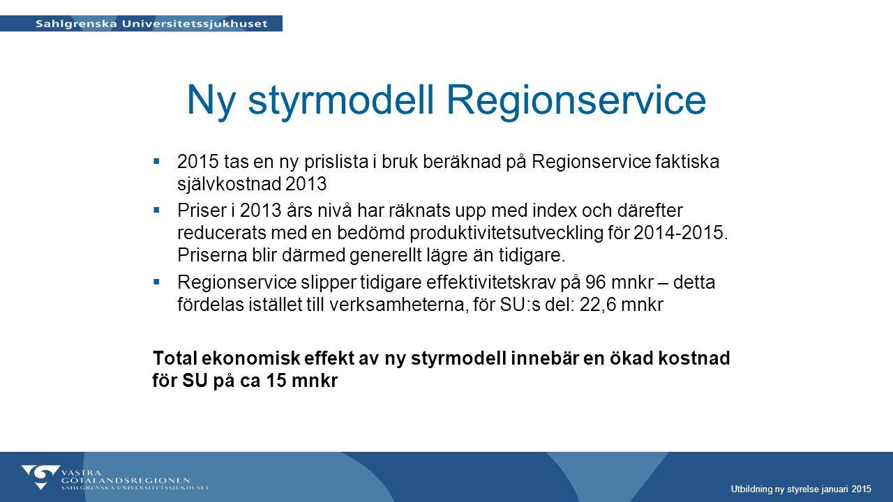 Ny styrmodell Regionservice  2015 tas en ny prislista i bruk beräknad på Regionservice faktiska självkostnad 2013  Priser i 2013 års nivå har räknat