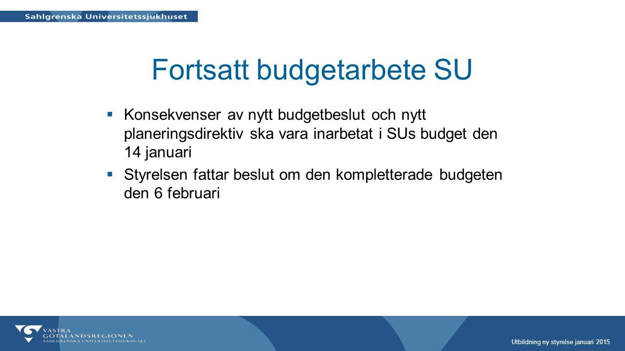 Fortsatt budgetarbete SU  Konsekvenser av nytt budgetbeslut och nytt planeringsdirektiv ska vara inarbetat i SUs budget den 14 januari  Styrelsen fa