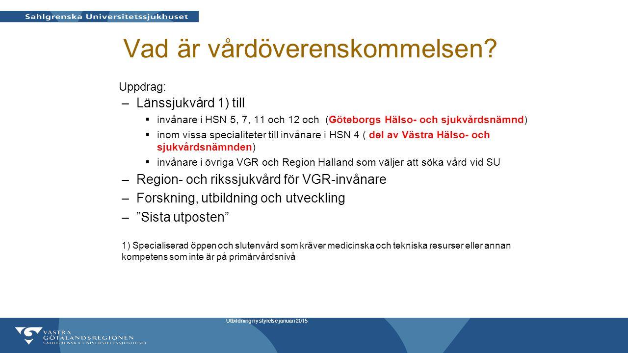 Vad är vårdöverenskommelsen? –Länssjukvård 1) till  invånare i HSN 5, 7, 11 och 12 och (Göteborgs Hälso- och sjukvårdsnämnd)  inom vissa specialitet
