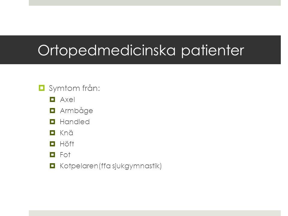 Ortopedmedicinska patienter  Symtom från:  Axel  Armbåge  Handled  Knä  Höft  Fot  Kotpelaren(ffa sjukgymnastik)