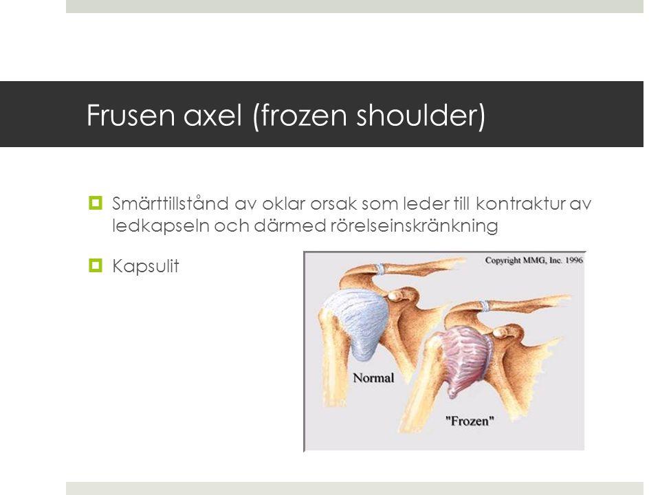 Frusen axel (frozen shoulder)  Smärttillstånd av oklar orsak som leder till kontraktur av ledkapseln och därmed rörelseinskränkning  Kapsulit