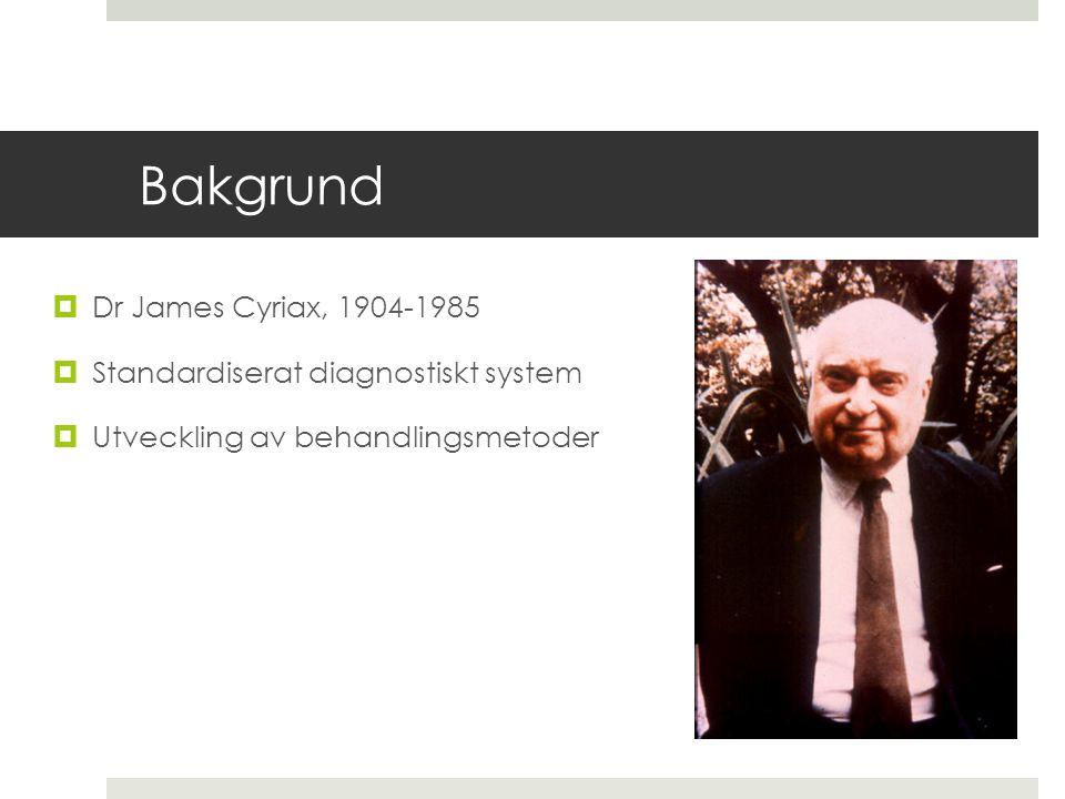 Bakgrund  Dr James Cyriax, 1904-1985  Standardiserat diagnostiskt system  Utveckling av behandlingsmetoder