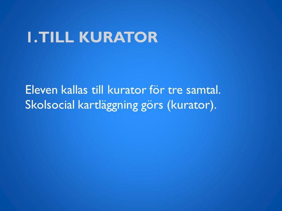 1. TILL KURATOR Eleven kallas till kurator för tre samtal. Skolsocial kartläggning görs (kurator).