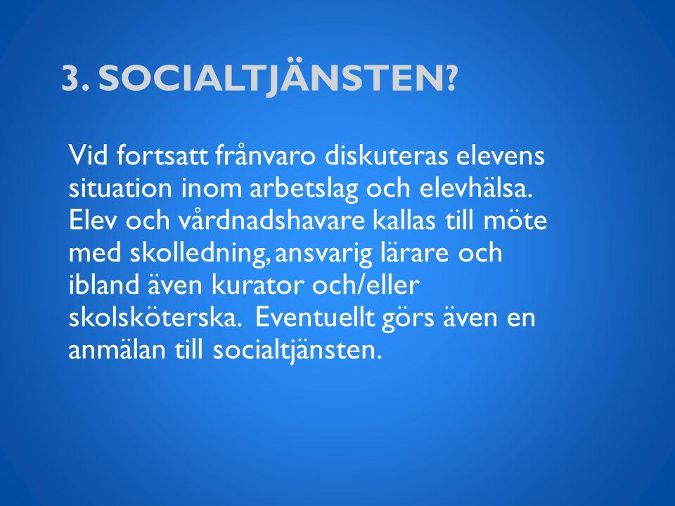 3.SOCIALTJÄNSTEN. Vid fortsatt frånvaro diskuteras elevens situation inom arbetslag och elevhälsa.