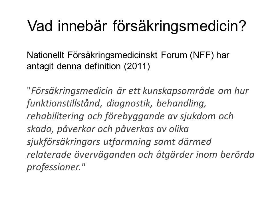 Vad innebär försäkringsmedicin? Nationellt Försäkringsmedicinskt Forum (NFF) har antagit denna definition (2011)
