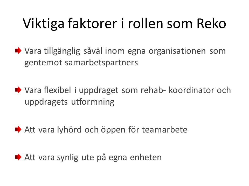 Viktiga faktorer i rollen som Reko Vara tillgänglig såväl inom egna organisationen som gentemot samarbetspartners Vara flexibel i uppdraget som rehab-
