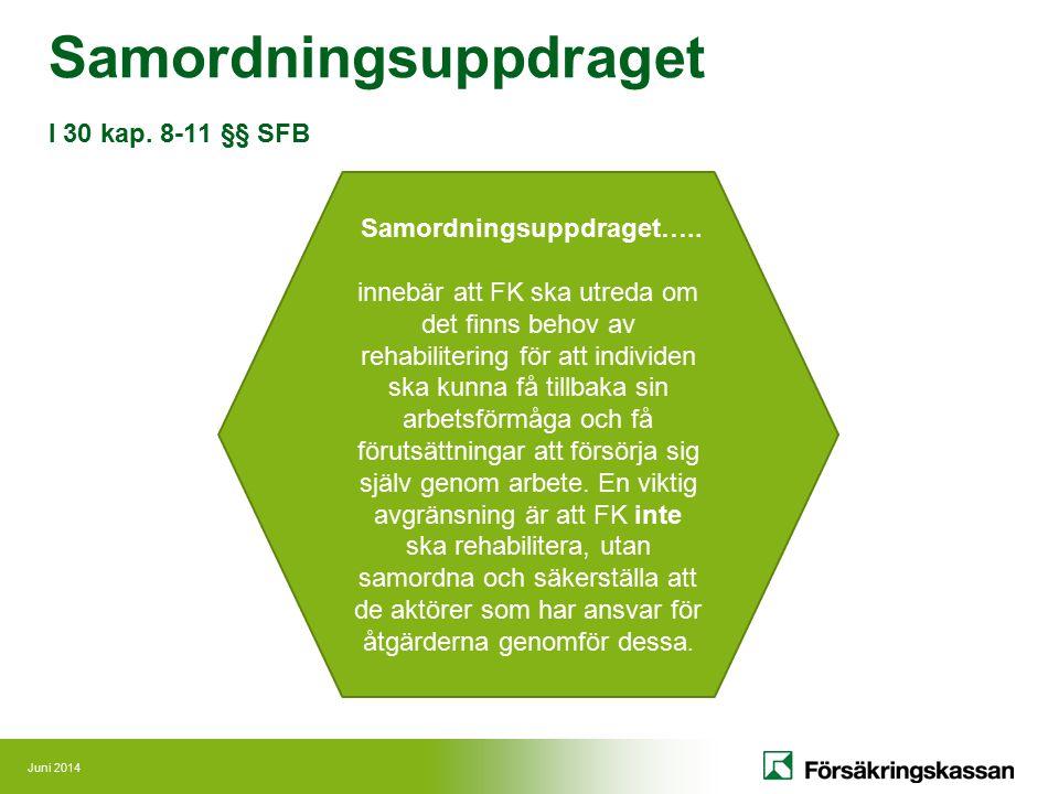 Juni 2014 Samordningsuppdraget I 30 kap.8-11 §§ SFB Samordningsuppdraget…..