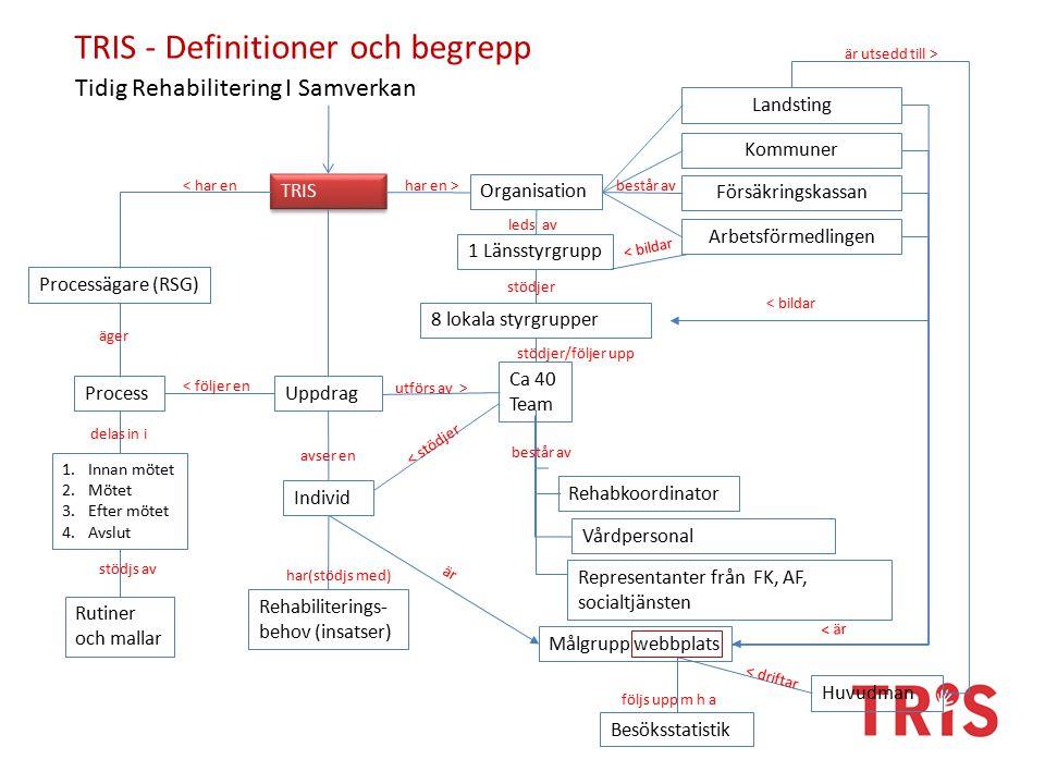 TRIS - Definitioner och begrepp ProcessUppdrag Organisation TRIS Individ Landsting Huvudman Försäkringskassan Målgrupp webbplats Arbetsförmedlingen Ca