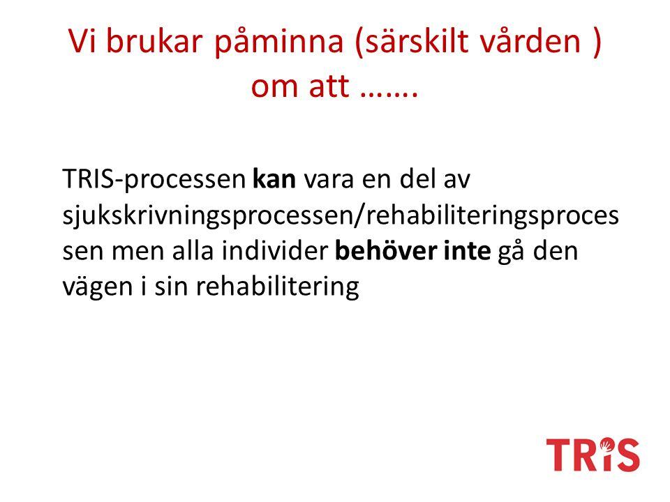 Vi brukar påminna (särskilt vården ) om att ……. TRIS-processen kan vara en del av sjukskrivningsprocessen/rehabiliteringsproces sen men alla individer
