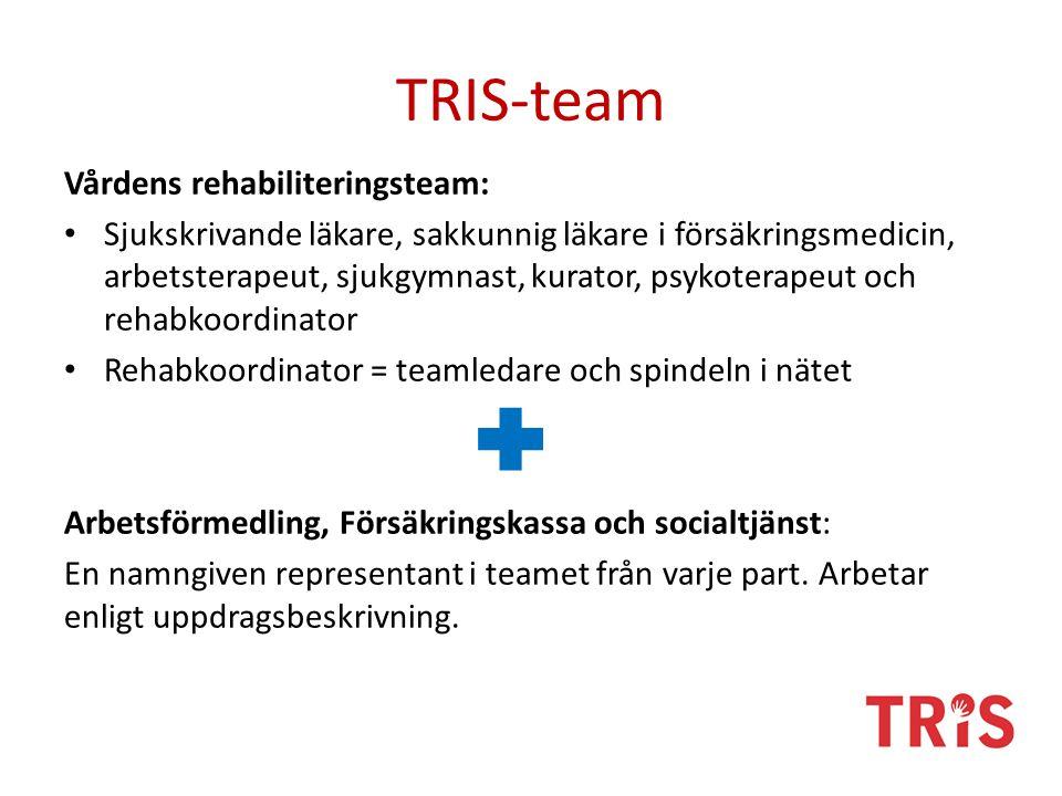 TRIS-team Vårdens rehabiliteringsteam: Sjukskrivande läkare, sakkunnig läkare i försäkringsmedicin, arbetsterapeut, sjukgymnast, kurator, psykoterapeut och rehabkoordinator Rehabkoordinator = teamledare och spindeln i nätet Arbetsförmedling, Försäkringskassa och socialtjänst: En namngiven representant i teamet från varje part.