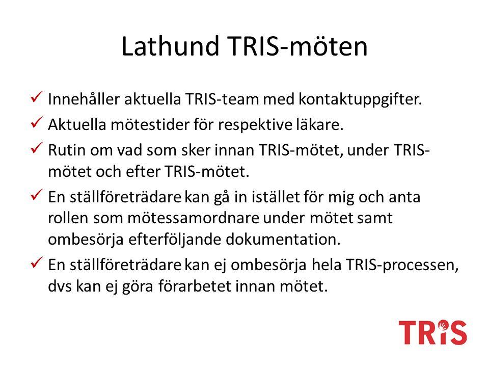 Innehåller aktuella TRIS-team med kontaktuppgifter. Aktuella mötestider för respektive läkare. Rutin om vad som sker innan TRIS-mötet, under TRIS- möt