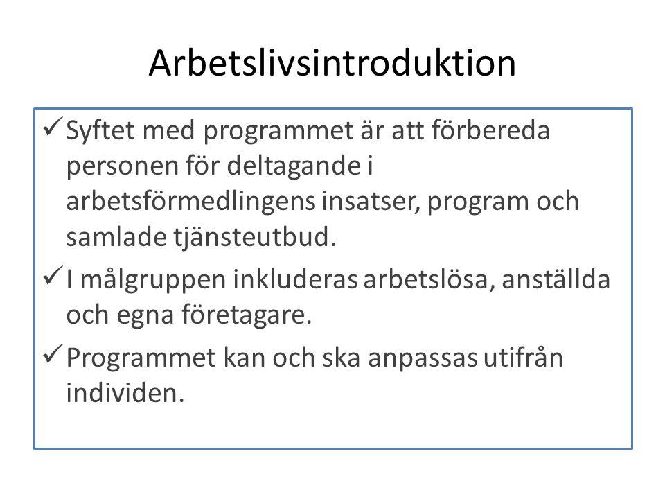 Arbetslivsintroduktion Syftet med programmet är att förbereda personen för deltagande i arbetsförmedlingens insatser, program och samlade tjänsteutbud.