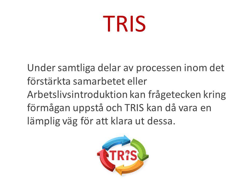 TRIS Under samtliga delar av processen inom det förstärkta samarbetet eller Arbetslivsintroduktion kan frågetecken kring förmågan uppstå och TRIS kan då vara en lämplig väg för att klara ut dessa.