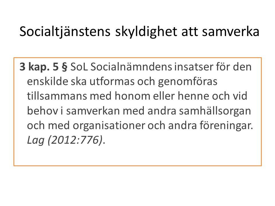 3 kap. 5 § SoL Socialnämndens insatser för den enskilde ska utformas och genomföras tillsammans med honom eller henne och vid behov i samverkan med an