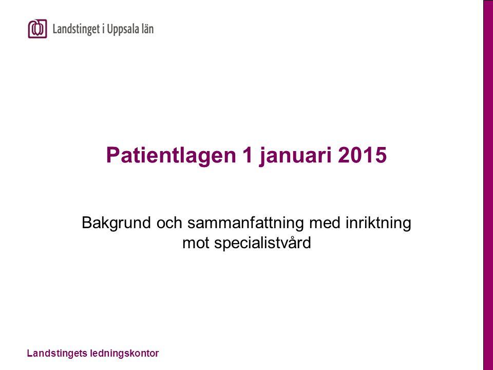 Landstingets ledningskontor Patientlagen 1 januari 2015 Bakgrund och sammanfattning med inriktning mot specialistvård