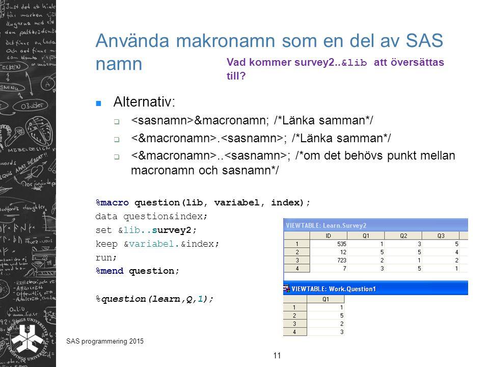 Använda makronamn som en del av SAS namn Alternativ:  &macronamn; /*Länka samman*/ . ; /*Länka samman*/ .. ; /*om det behövs punkt mellan macronamn