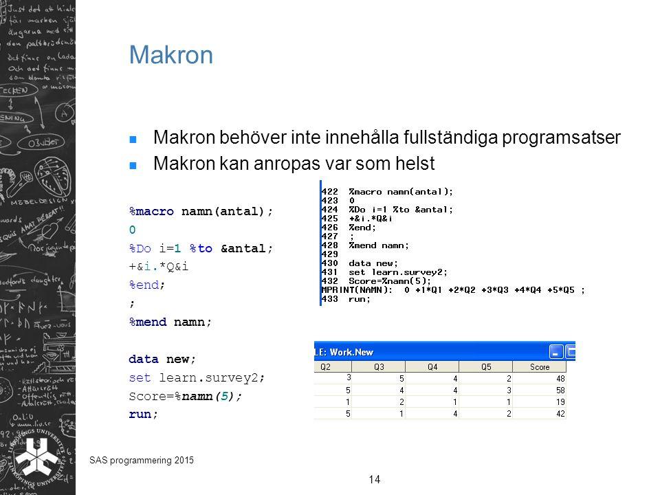 Makron Makron behöver inte innehålla fullständiga programsatser Makron kan anropas var som helst %macro namn(antal); 0 %Do i=1 %to &antal; +&i.*Q&i %e