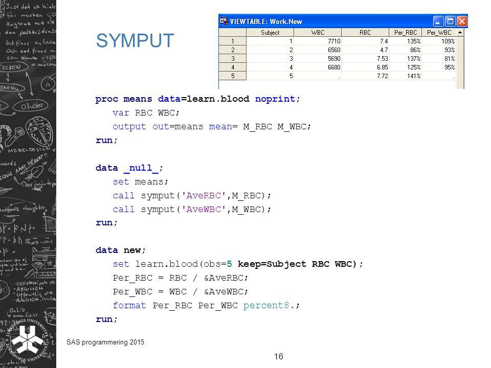 SYMPUT proc means data=learn.blood noprint; var RBC WBC; output out=means mean= M_RBC M_WBC; run; data _null_; set means; call symput('AveRBC',M_RBC);
