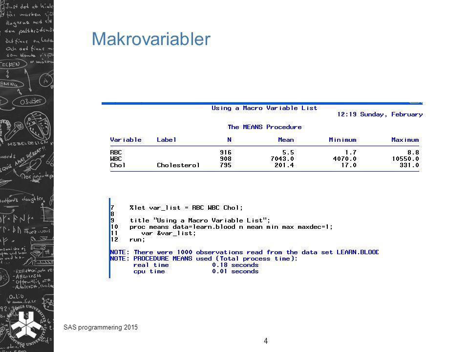 Makrovariabler 4 SAS programmering 2015