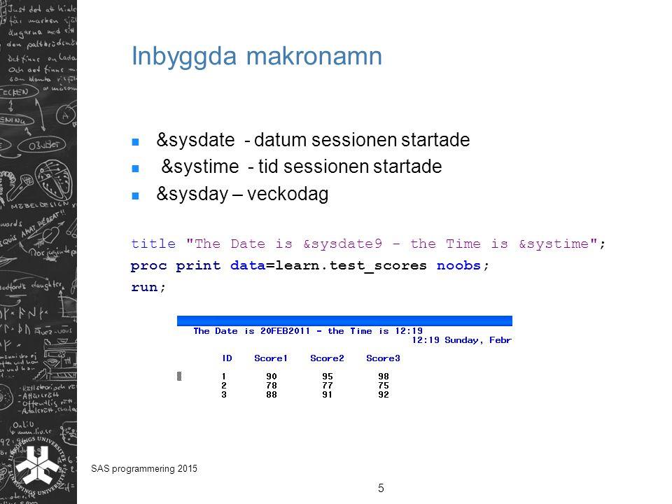 Inbyggda makronamn &sysdate - datum sessionen startade &systime - tid sessionen startade &sysday – veckodag title