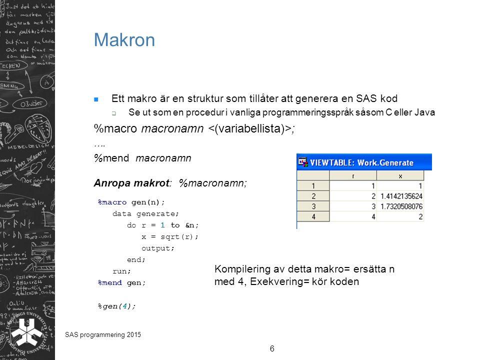 Makron Ett makro är en struktur som tillåter att generera en SAS kod  Se ut som en procedur i vanliga programmeringsspråk såsom C eller Java %macro m