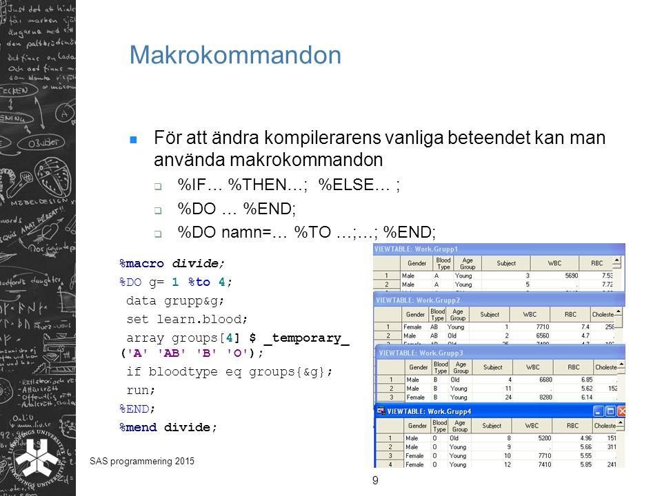 Makrokommandon För att ändra kompilerarens vanliga beteendet kan man använda makrokommandon  %IF… %THEN…; %ELSE… ;  %DO … %END;  %DO namn=… %TO …;…