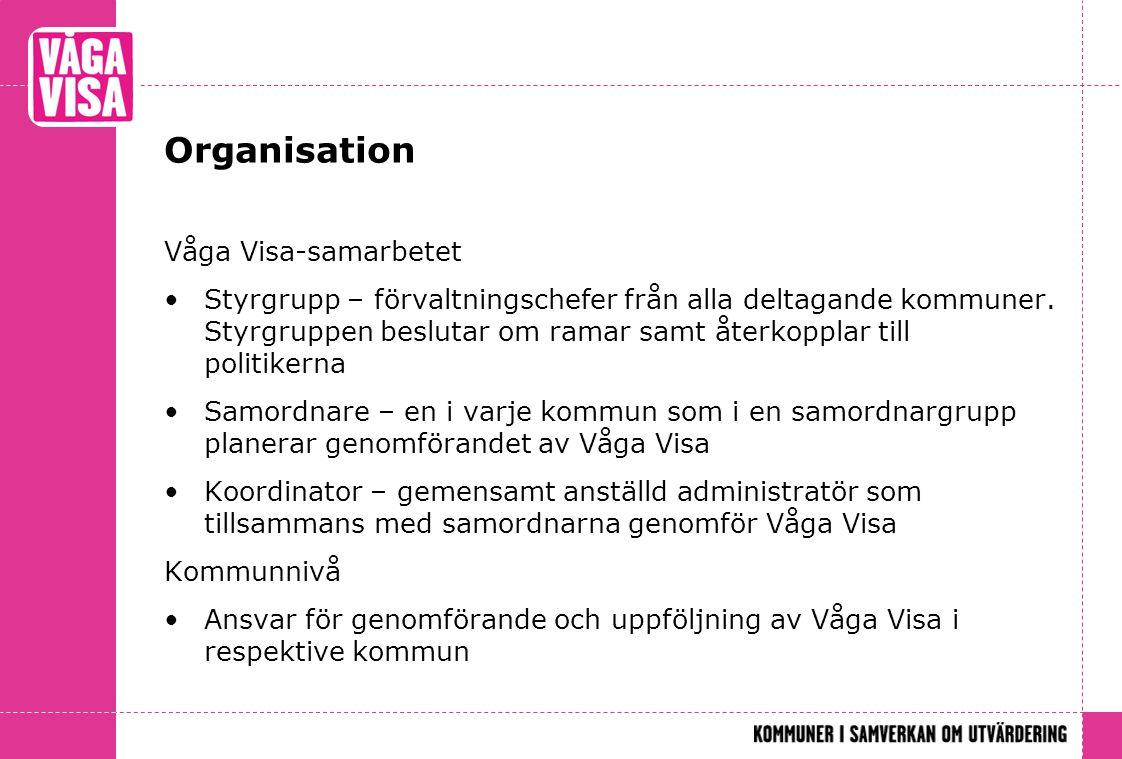 Organisation Våga Visa-samarbetet Styrgrupp – förvaltningschefer från alla deltagande kommuner. Styrgruppen beslutar om ramar samt återkopplar till po