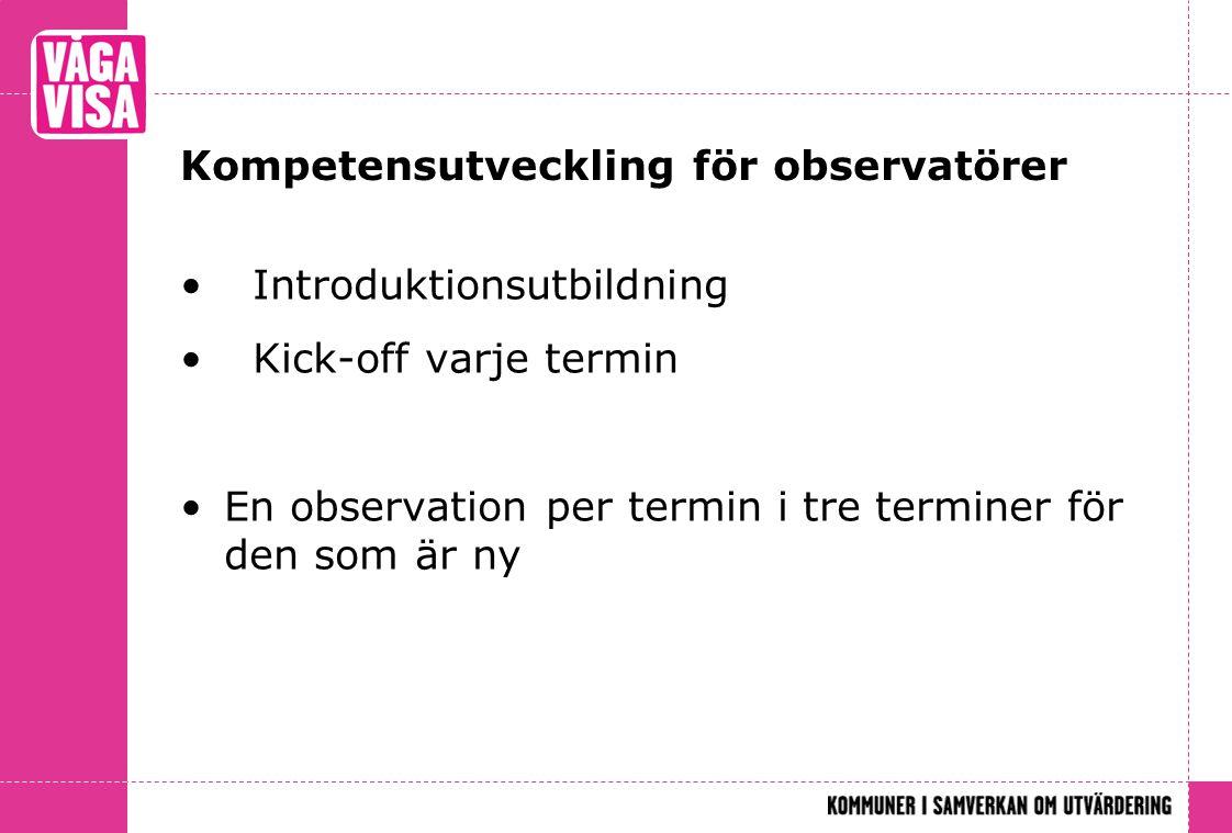 Kompetensutveckling för observatörer Introduktionsutbildning Kick-off varje termin En observation per termin i tre terminer för den som är ny