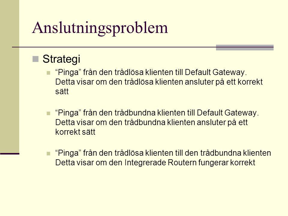 Anslutningsproblem Strategi Pinga från den trådlösa klienten till Default Gateway.