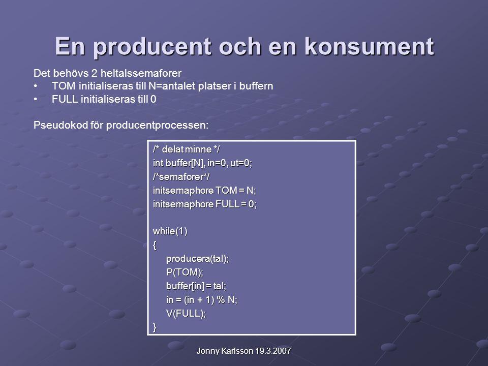 Jonny Karlsson 19.3.2007 En producent och en konsument Det behövs 2 heltalssemaforer TOM initialiseras till N=antalet platser i buffern FULL initialiseras till 0 Pseudokod för producentprocessen: /* delat minne */ int buffer[N], in=0, ut=0; /*semaforer*/ initsemaphore TOM = N; initsemaphore FULL = 0; while(1){ producera(tal); producera(tal); P(TOM); P(TOM); buffer[in] = tal; buffer[in] = tal; in = (in + 1) % N; in = (in + 1) % N; V(FULL); V(FULL);}