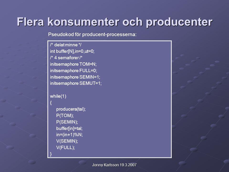 Jonny Karlsson 19.3.2007 Flera konsumenter och producenter /* delat minne */ int buffer[N],in=0,ut=0; /* 4 semaforer /* initsemaphore TOM=N; initsemaphore FULL=0; initsemaphore SEMIN=1; initsemaphore SEMUT=1; while(1) { producera(tal); P(TOM); P(SEMIN); buffer[in]=tal; in=(in+1)%N; V(SEMIN); V(FULL); } Pseudokod för producent-processerna: